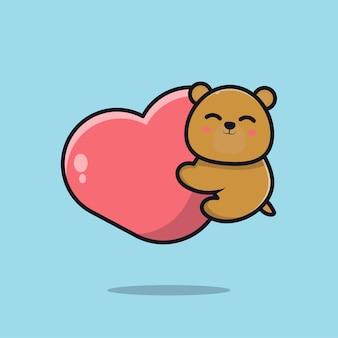 Słodki miś trzyma serce ikona ilustracja kreskówka