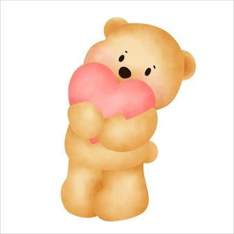 Słodki miś trzyma serce.