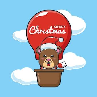 Słodki miś w balonie śliczna świąteczna ilustracja kreskówka