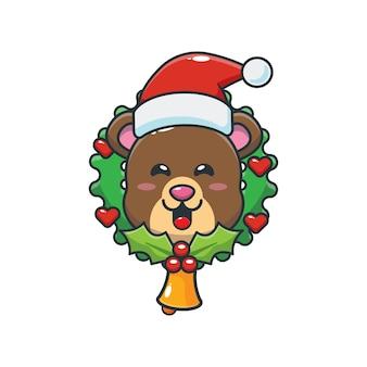 Słodki miś w boże narodzenie śliczna świąteczna ilustracja kreskówka