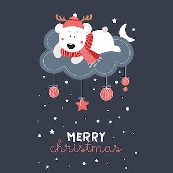 Słodki miś w kapeluszu na chmurze. gwiazdy, śnieg, czapka, szalik, płatki śniegu. tło wektor ciemne dzieci. szczęśliwego nowego roku. wesołych świąt. 2020.