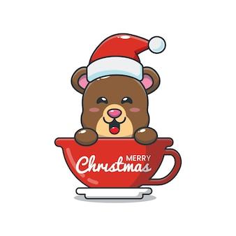 Słodki miś w kapeluszu santa w filiżance śliczna świąteczna ilustracja kreskówka