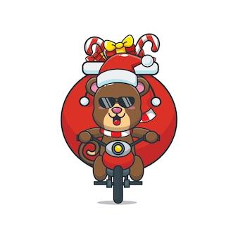 Słodki miś w kostiumie świątecznym jeżdżący na motocyklu śliczna świąteczna ilustracja kreskówka