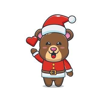 Słodki miś w kostiumie świętego mikołaja śliczna świąteczna ilustracja kreskówka