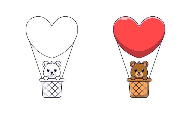 Słodki miś w kreskówce balonem na ogrzane powietrze do kolorowania dla dzieci