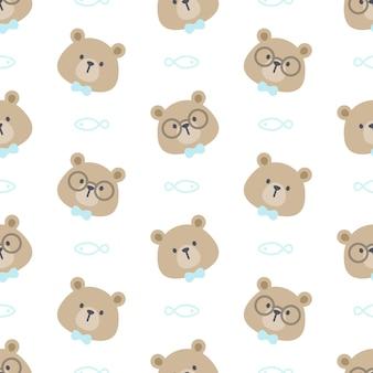 Słodki miś w okularach i muszka tło wzór