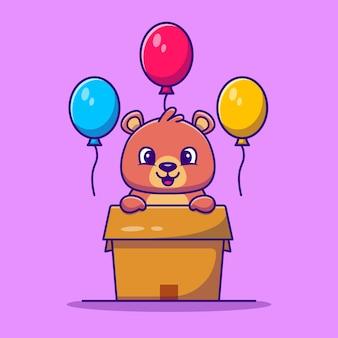Słodki miś w pudełku z ilustracji wektorowych kreskówki balony. koncepcja miłości zwierząt na białym tle wektor. płaski styl kreskówki