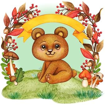 Słodki miś w ramce liści jesienią