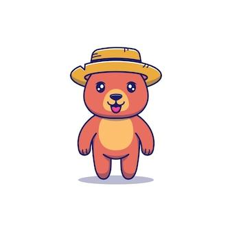 Słodki miś w słomkowym kapeluszu
