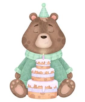Słodki miś w swetrze, w czapce iz ciastem ze świecą, urodziny ilustracji.
