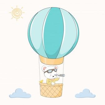 Słodki miś wziąć rysunek wektor ręcznie rysowane balonem