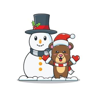 Słodki miś z bałwanem śliczna świąteczna ilustracja kreskówka