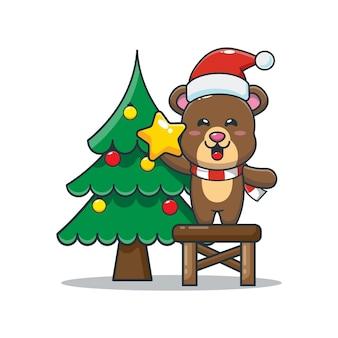 Słodki miś z choinką śliczna świąteczna ilustracja kreskówka