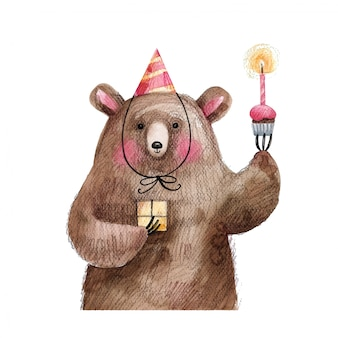 Słodki miś z ciastem i prezentem w świątecznej czapce życzy wszystkiego najlepszego. ręcznie rysowane ilustracja na białym tle.