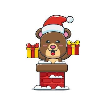Słodki miś z czapką świętego mikołaja w kominie śliczna świąteczna ilustracja kreskówka