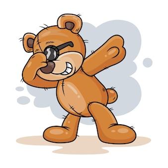 Słodki miś z dub dance kreskówka ikona ilustracja. koncepcja ikona zwierząt na białym tle