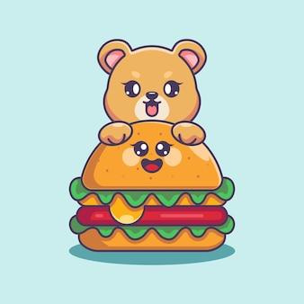 Słodki miś z dużą kreskówką z serem burger