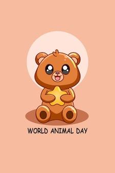 Słodki miś z gwiazdą na ilustracji kreskówki światowego dnia zwierząt