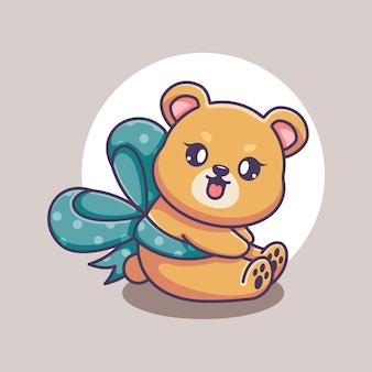 Słodki miś z kreskówką wstążkową