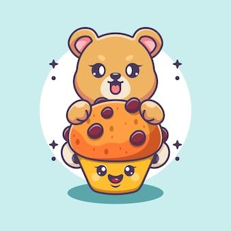 Słodki miś z kreskówką z babeczką