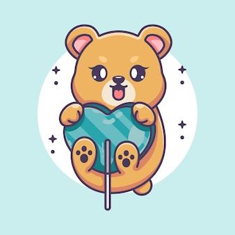 Słodki miś z kreskówką z cukierkowego serca