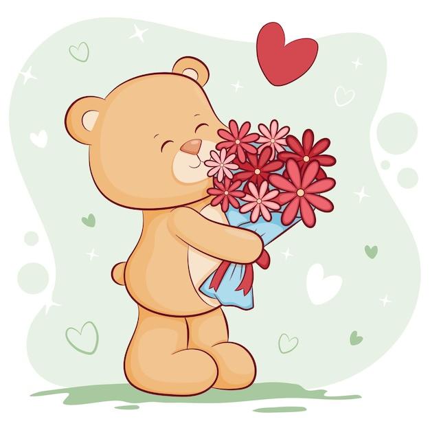 Słodki miś z kwiatami walentynki