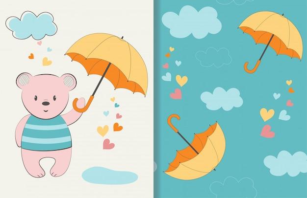 Słodki miś z parasolem ilustracji