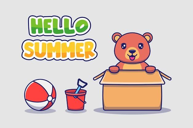 Słodki miś z powitaniem na lato