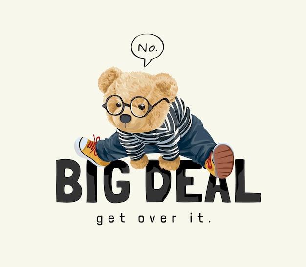 Słodki miś zabawka w okularach przeskakujący wielki slogan