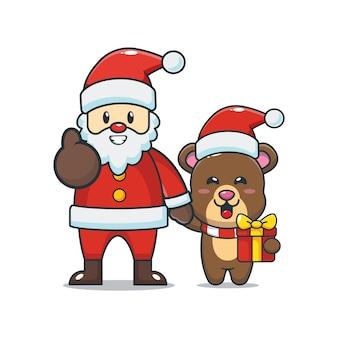 Słodki miś ze świętym mikołajem śliczna świąteczna ilustracja kreskówka