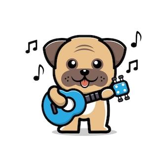 Słodki mops grający na gitarze