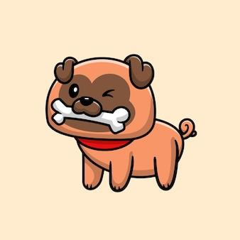 Słodki mops pies je kość, postać z kreskówki