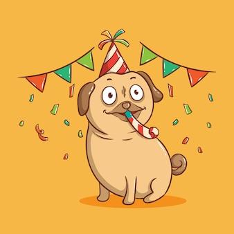 Słodki mops pies na przyjęciu urodzinowym. kartkę z życzeniami wszystkiego najlepszego