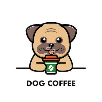 Słodki mops pies pić filiżankę kawy kreskówka zwierzę logo ilustracja kawa