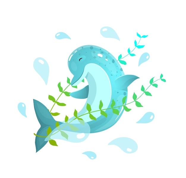 Słodki morski delfin skacze z kreskówki graficznej oceanu