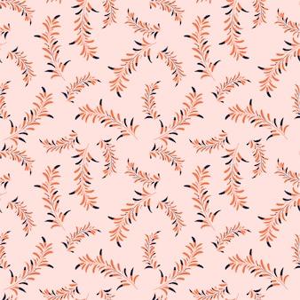 Słodki nastrój jednolity wzór paproci palmowej, liści naturalnych gałęzi, ręcznie rysowane stylu tropikalnej rośliny