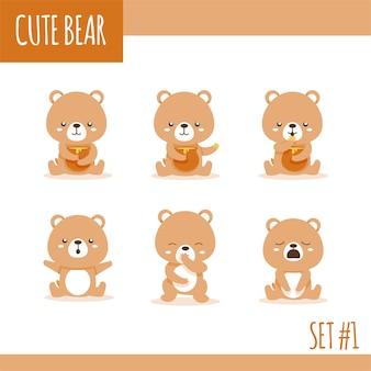 Słodki niedźwiedź brunatny ustawia jeden