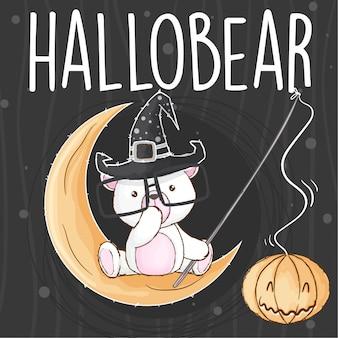 Słodki niedźwiedź halloween ręcznie rysowane wektor zwierzę