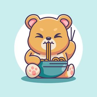 Słodki niedźwiedź je kreskówkę z makaronem ramen