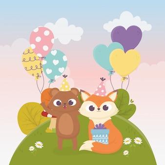 Słodki niedźwiedź lis z darów balony trawa kwiaty zwierzęta uroczystości szczęśliwy dzień ilustracja