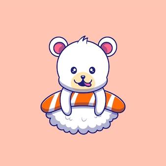 Słodki niedźwiedź polarny delektuje się pysznymi na górze ilustracja sushi. niedźwiedź postaci z kreskówek maskotka.