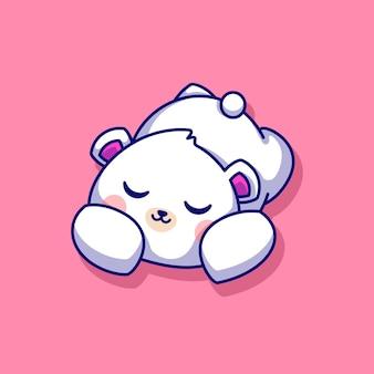Słodki niedźwiedź polarny śpiący kreskówka