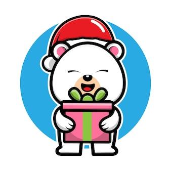 Słodki niedźwiedź polarny z santa hat cartoon character świąteczna ilustracja koncepcja