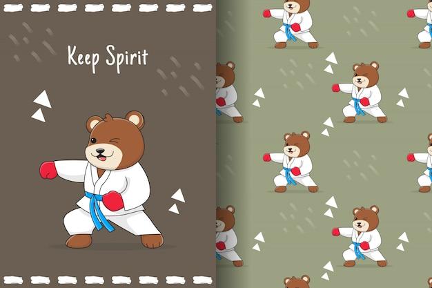 Słodki niedźwiedź poncz wzór i karta