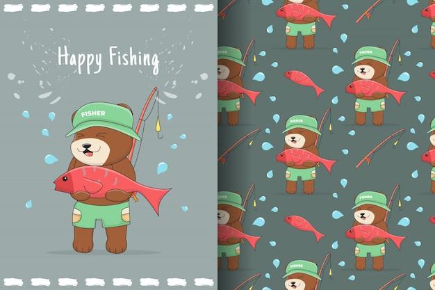 Słodki niedźwiedź rybak wzór i karta