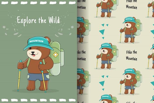 Słodki niedźwiedź turysta wzór i karta