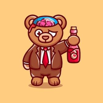 Słodki niedźwiedź zombie halloween niosący butelkę do oczu