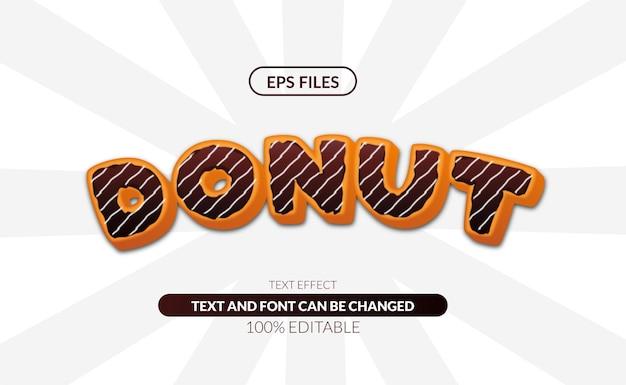 Słodki pączek z czekoladą pyszne jedzenie edytowalny efekt tekstowy. plik wektorowy eps