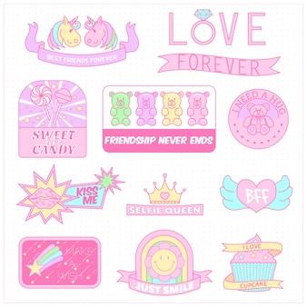 Słodki pastelowy kolor girly odznaka kolekcji