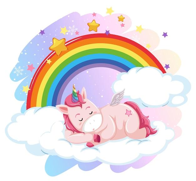 Słodki pegaz leżący na chmurze na pastelowym niebie z tęczą